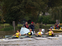2012 Reading rowing club small boats head on river Thames